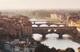 Panoramic view of Florence with Arno River