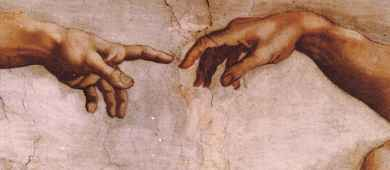 Detail of Michelangelo's The Creation of Adam, inside Sistine Chapel