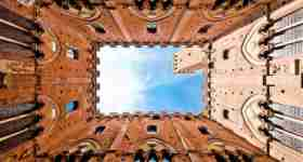 View from the courtyard in Siena
